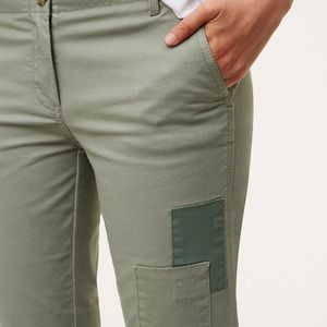 Loft patchwork Marisa fit chino pants olive green